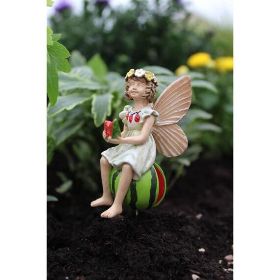 "Fairy Leah on her Watermelon (2.5"" Tall) in her Fairy Garden"