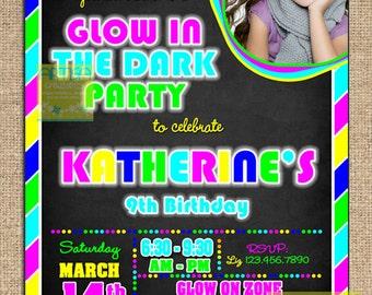 Glow In The Dark Sweet 16 Invitations
