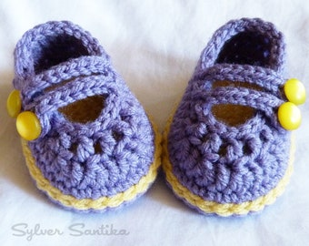 Crochet Pattern: Baby 2 Strap Mary Janes, cute girl booties