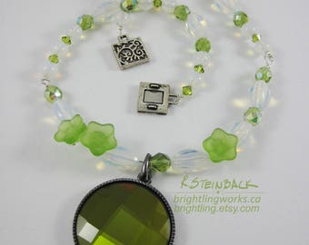 Green Tea; Necklace With Stunning Olive Green Faceted Pendant, Opalescent Moonstone, Frosted Glass Flowers & Spring Green Glass and Crystal