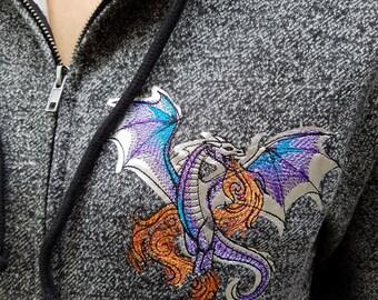 Dragon Embroidery Full-zip Hooded Sweatshirt