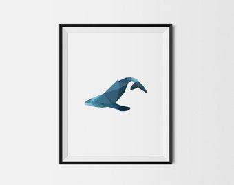 Geometric Art Print, Nursery Art, Baby Room Art, Whale Art Print, Minimal Art Print