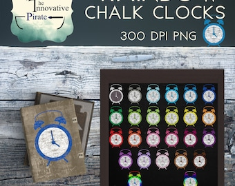 Chalk Clocks Clipart pack - Chalkboard clipart - chalk clocks favor tags- chalk clip art - rainbow clocks cupcake toppers - colorful alarm