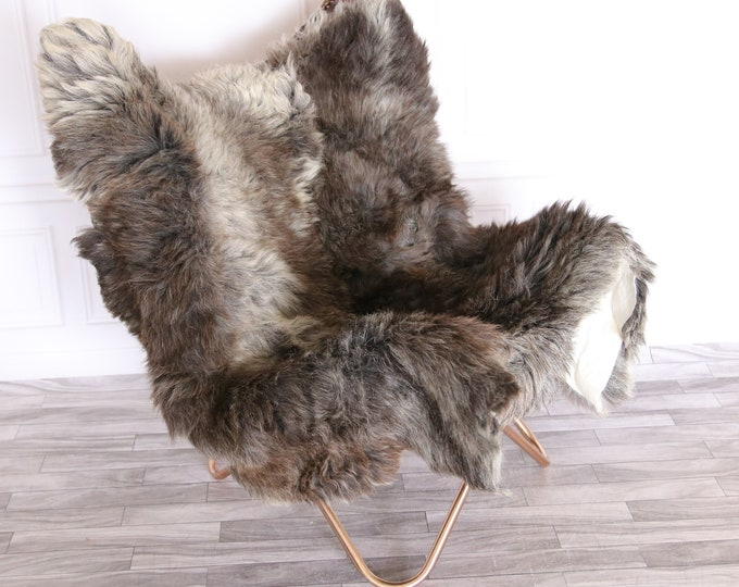 Genuine Natural Double Side by Side Organic Sheepskin Rug | Sheepskin Throw | Grey Brown Sheepskin Rug | double Sheepskin Rug |