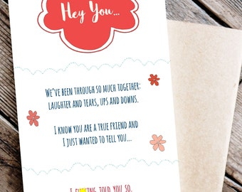 Funny Printable Friend Card - for BFF I Told You So