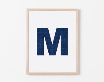Navy Texture M Nursery Art. Nursery Wall Art. Nursery Prints. Nursery Decor. Personalized Wall Art. Monogram Art. Navy Letter Wall Art.