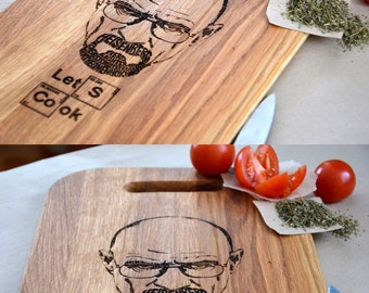 Breaking Bad Heisenberg Cutting Board Custom Let's Cook Personalized Gift For Mom in Law Chef New Home Housewarming Man Kitchen Mother Gift