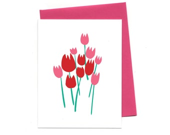 Love Tulips, Minimialist Scandinavian Inspired Boxed Valentine Cards,  Thank You Blank Cards