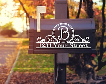 Mailbox Decal, Personalized Street Address Decal, Custom Mailbox Monogram Sticker, Street Address Number Vinyl Decal