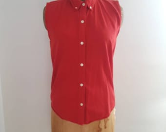 Vintage 1980's New Moves Red Cotton Sleeveless Button Up Shirt Sz Med Basic Preppy