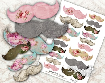 Mustaches - digital collage sheet - Printable Download
