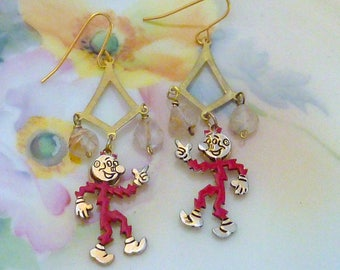READY KILOWATT vintage antique assemblage earrings
