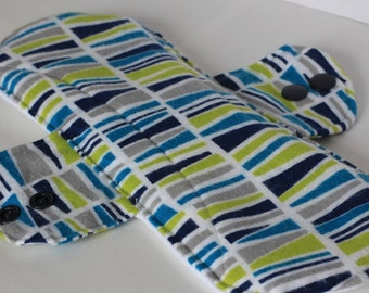 """Incontinence Pad Geo Marine in Navy, Turquoise, Chartreuse, Gray and White 9"""""""