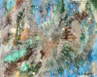 "11 X 14 inch Abstract Art on Gessobord, ""Dream Mandala"""