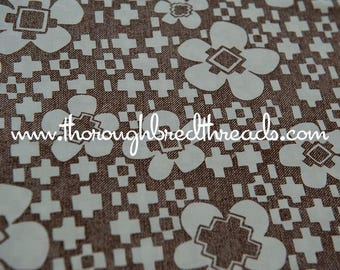Daisies and Shapes- Vintage Fabric Mod Flowers Juvenile Brown