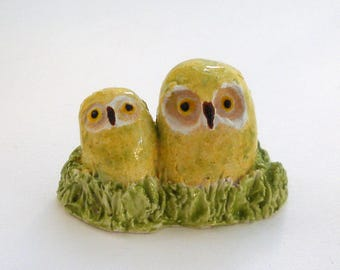 Owls Ceramic Figurine Yellow