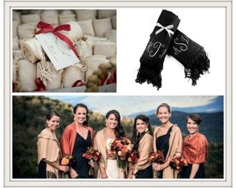 Wedding Bridesmaid Gifts / Personalized Pashmina Scarf Shawl / Bridal Scarf / Personalized Bridal Shower Gift / Fashion Scarf