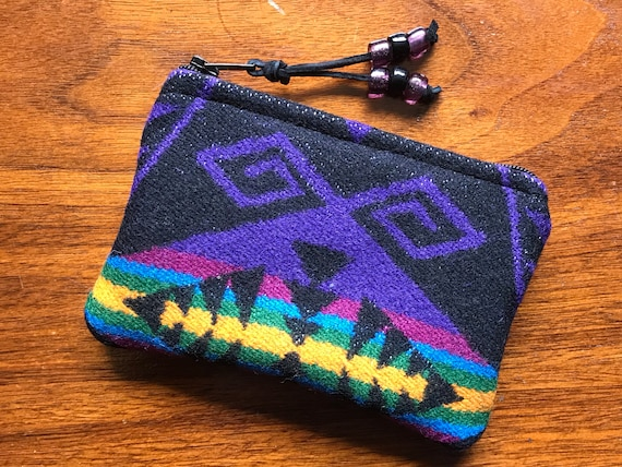 Wool Coin Purse / Phone Cord / Gift Card Holder / Zippered Pouch XL Purple