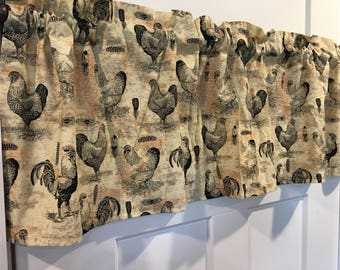 """Chicken and Roosters Farmhouse Feathers Country Tan and Black 42"""" Valance Curtain"""