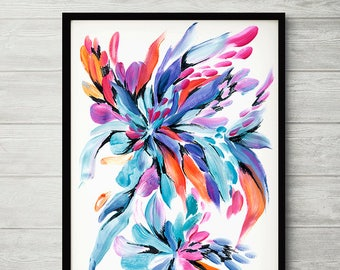 Flower painting, colorful watercolor flower print, blue pink abstract flower, turquoise flower art, colorful print, watercolor painting