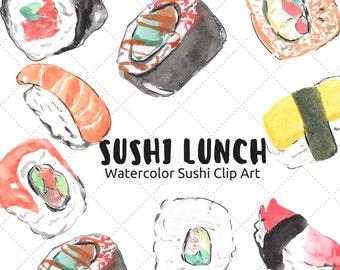 Sushi Clip Art - Japanese Clip Art - Food Clip Art - Watercolor Clip Art - Invitation Clip Art - Food Art -  Scrapbooking supplies