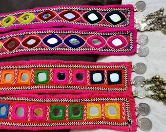 Banjara Necklace, Ethnic Necklace, Indian Coin Necklace with Square Shisha Mirrors, Boho gypsy Necklace, Kutch Jewelry