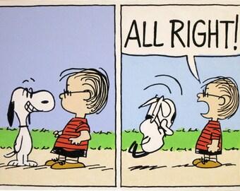 snoopy looking at linus peanuts comic