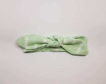 Knotted Headband- Mint - 0-3 MONTHS