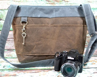 Womens Camera Bag in Waxed Canvas - Vegan Espresso brown & Grey faux leather by Darby Mack, made in the USA