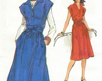 1970s Womens A-Line Dress Pullover Dress or Jumper with Belt Vogue Sewing Pattern 9384 Size 12 Bust 34 UnCut Sewing Patterns