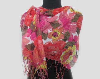 Summer Party Scarf, Boho Scarf Gift For Her, Summer Outdoors Floral Print Cute Scarf, Summer Scarves