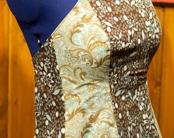 blue/brown paisley and floral backless summer festival top