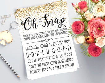 Printable Unplugged Ceremony Sign - Gold Wedding Decorations - No Cellphone Sign - Gold Glitter Ceremony Decor - Unplugged Wedding Printable