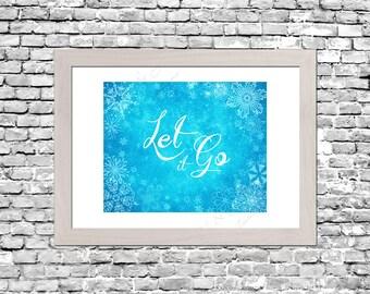 Frozen Let It Go Blue Wall Art Printable Instant Download