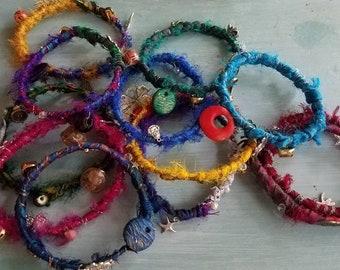 Mixed media fabric boho bangles