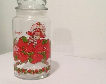 Strawberry Shortcake Jar - 1980s Srawberry Shortcake - Airtight Jar - Storage Jar - Candy Jar - Snack Jar