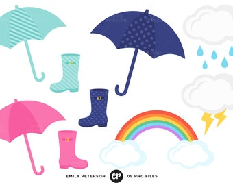 Rain Clip Art, Spring Clipart, April Showers Clip Art - Commercial Use, Instant Download - V2