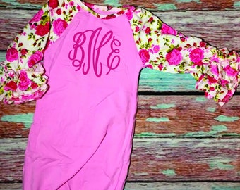 baby new born outfit, infant monogrammed layette