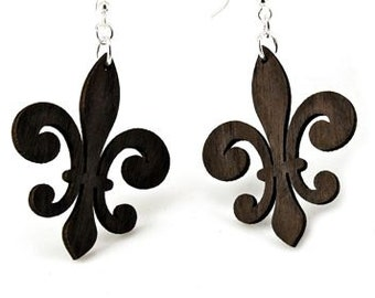 Fleur De Lis Earrings - Wood Earrings - Mardis Gras