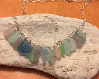 Sea glass necklace with 15 pieces of colorful sea glass