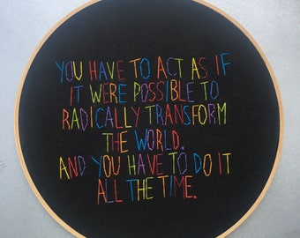 Do it all the time - hand drawn and embroidered Angela Davis quotation wall hanging