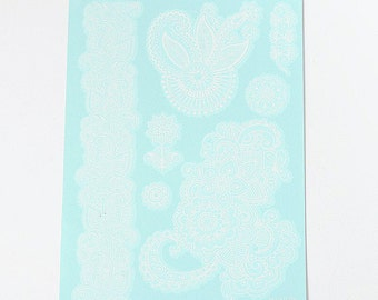 White Henna Lace Tattoo Sheet
