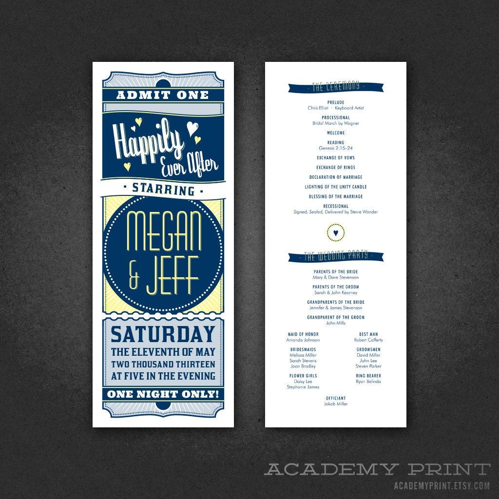Printable Ticket Wedding Program Movie Wedding Double