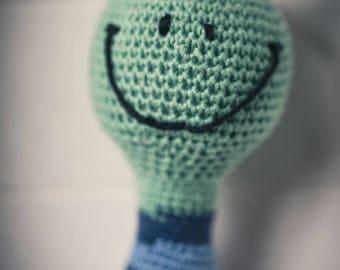 Crochet frog-Baby rattle, hand work, Rattle, frog