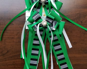 Green, White, & Black Stripes Equestrian Show Bows (Grand Champion Size)