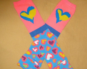 Leg warmer, Infant, toddler -Pink and Blue Hearts- infant leg warmer, toddler leg warmer, baby girl leg warmer, baby leg warmer