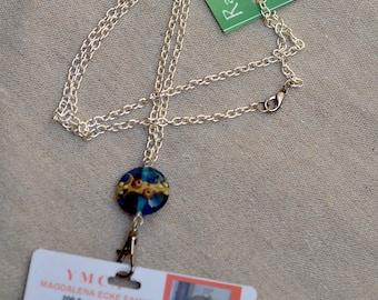 ID Badge Holder. Lanyard Silver Chain. Name Badge Holder. Badge Blue Lampwork Glass Bead Necklace.  Nurse Name Badge Holder.