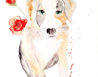 Print of the original watercolor painting 'Ernest the dog'
