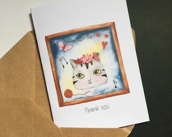 Thank you card N.2,american shorthair, watercolor,cat lover, anniversary card, gift card,congratulation card