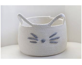 Cat Face Rope Baskets - cotton rope basket - rope basket - cat basket - rope basket decor - cat decor - nursery decor - basket - rope bucket